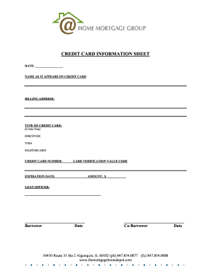 Get And Sign Credit Card Information Sheet