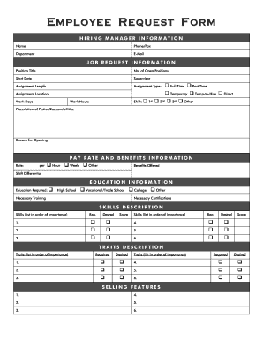 Employee Request Form pdf - Millenium Staffing - Fill Out and Sign