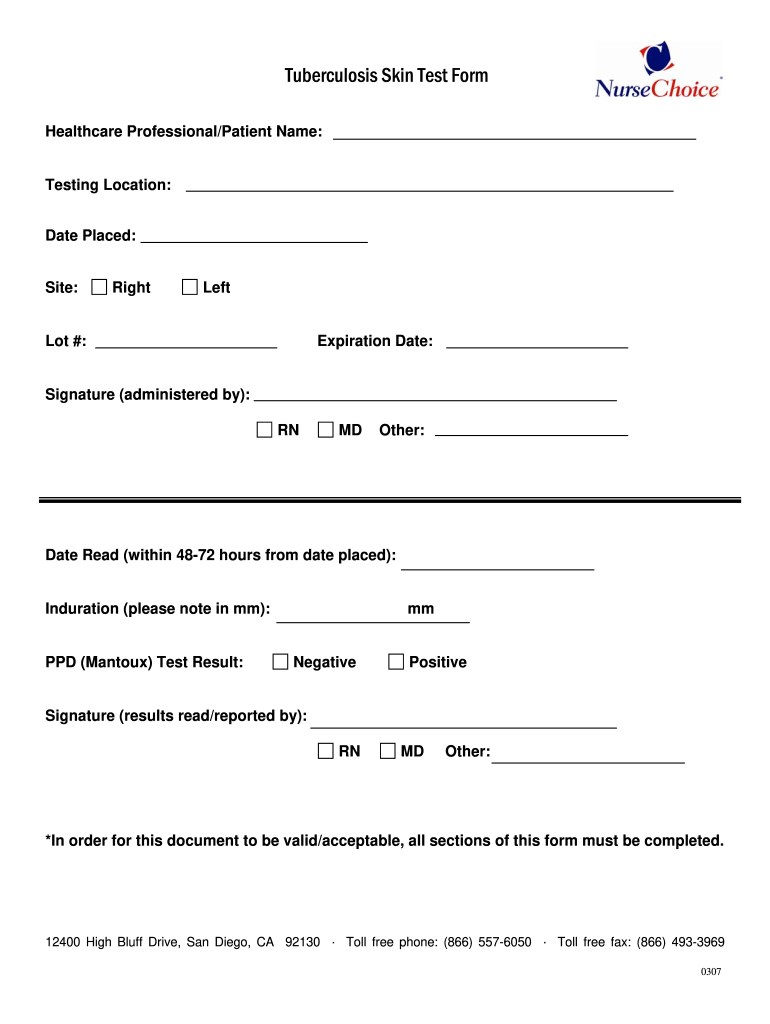 Get And Sign Tb Test Form 2007-2021