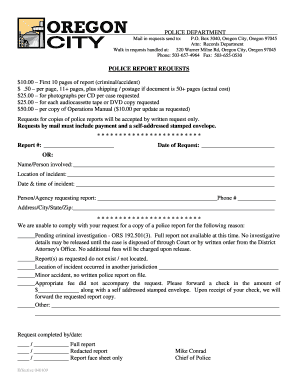 Get And Sign Police Report Requests - Oregon City Oregon