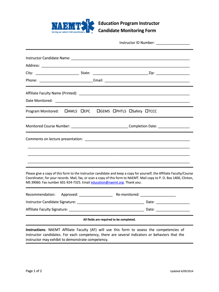 Get And Sign Naemt Instructor Monitoring Form 2014-2021