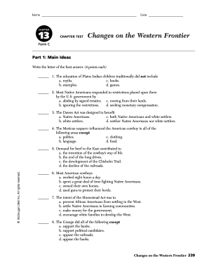 CHAPTER13 CHAPTER TEST Changes on the Western Frontier form - Fill ...