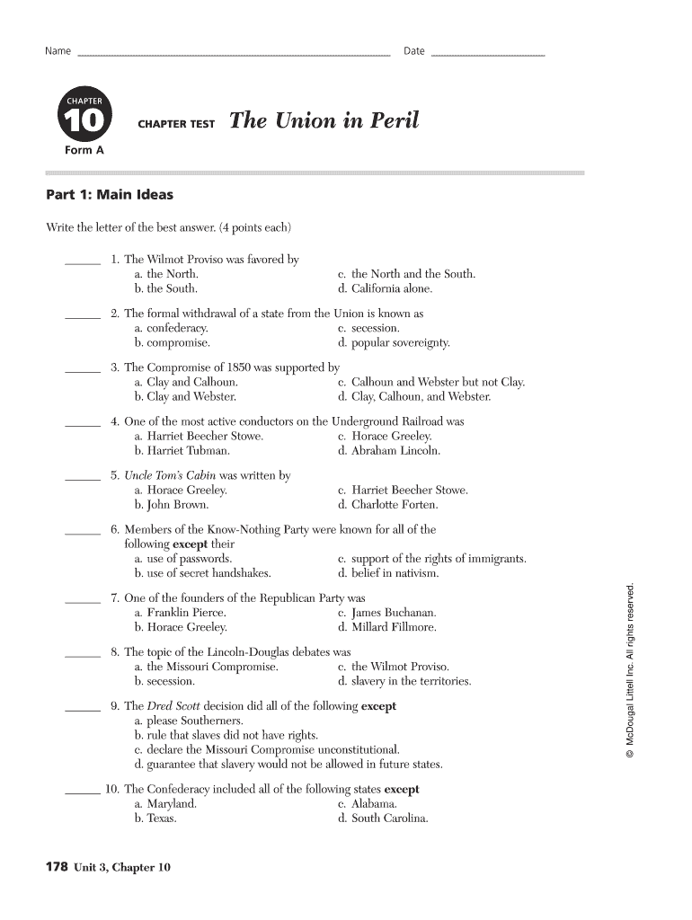 Get And Sign Chapter 10 The Union In Peril Worksheet Answers Form