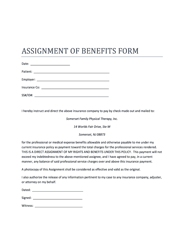 Get And Sign New Jersey Assignment Of Benefits Form