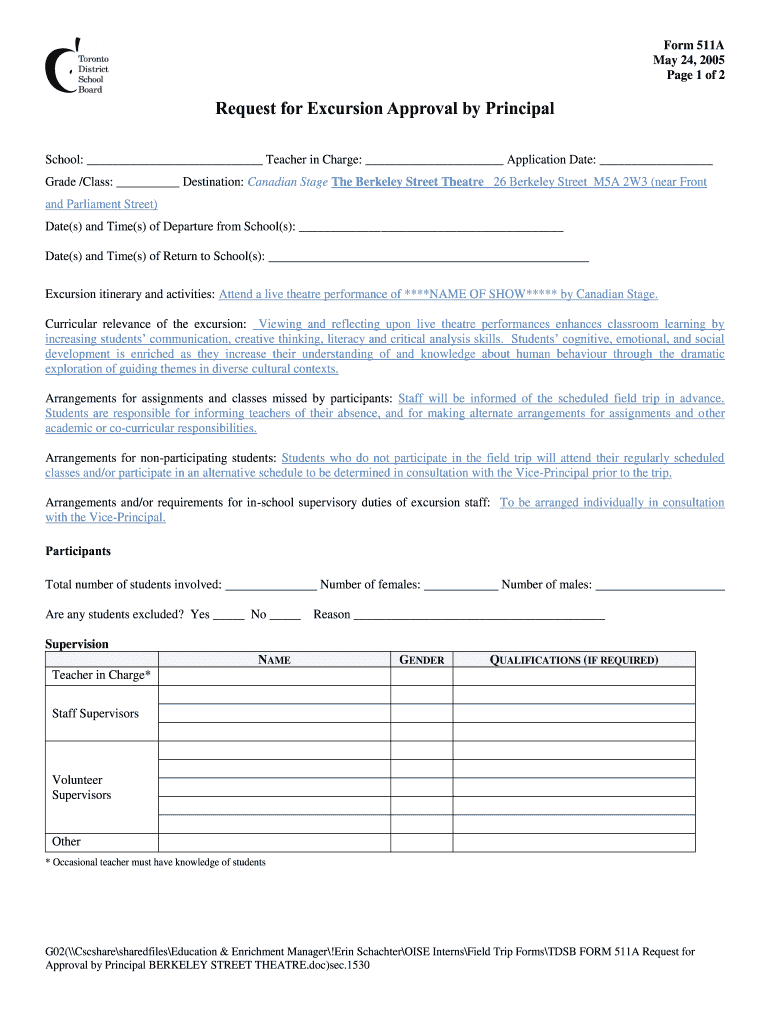 Get And Sign Tdsb Field Trip Form 2005-2021