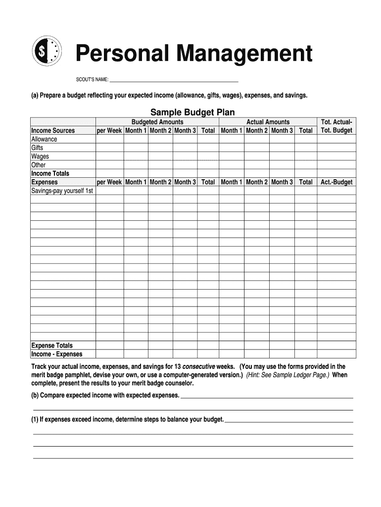 Get And Sign Personal Management Merit Badge Workbook Answers Form