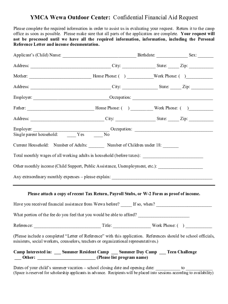 Get And Sign Ymca Scholarship Form