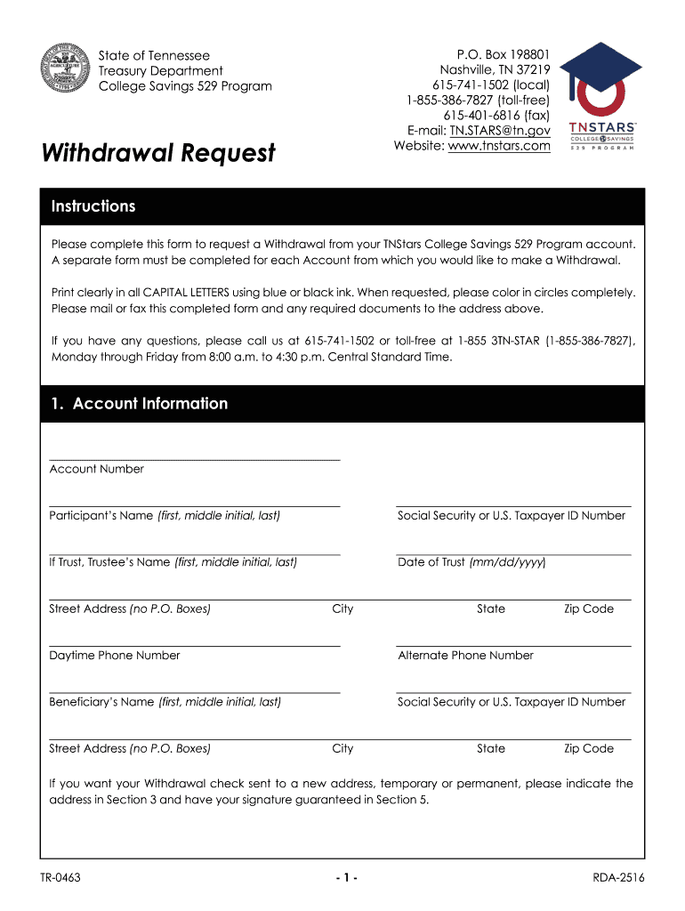 Get And Sign Withdrawal Request Website Wwwtnstars Form