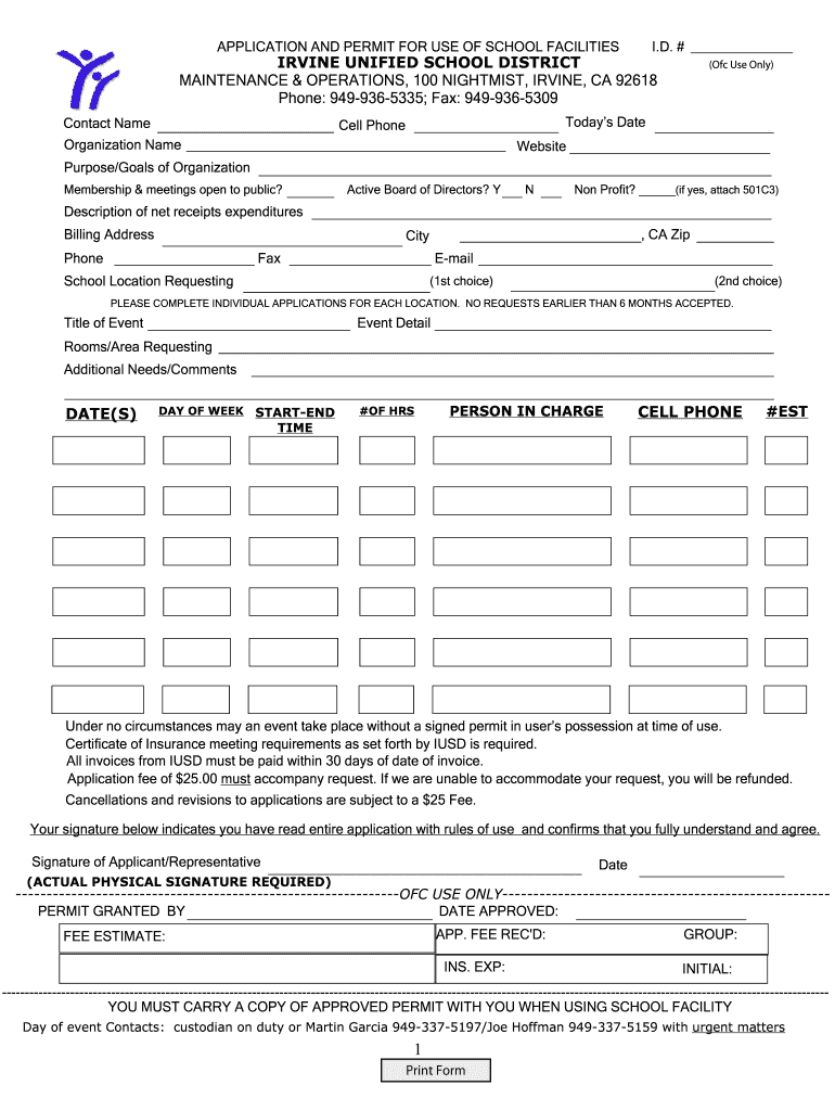 Get And Sign APPLICATION AND PERMIT FOR USE OF SCHOOL FACILITIES I Iusd 2011-2021 Form