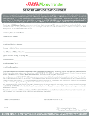 Deposit Authorization Form - Xoom - Fill Out and Sign Printable PDF