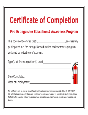 picture relating to Printable Fire Extinguisher Sign identify Certification of Completion - Hearth Extinguisher kind - Fill