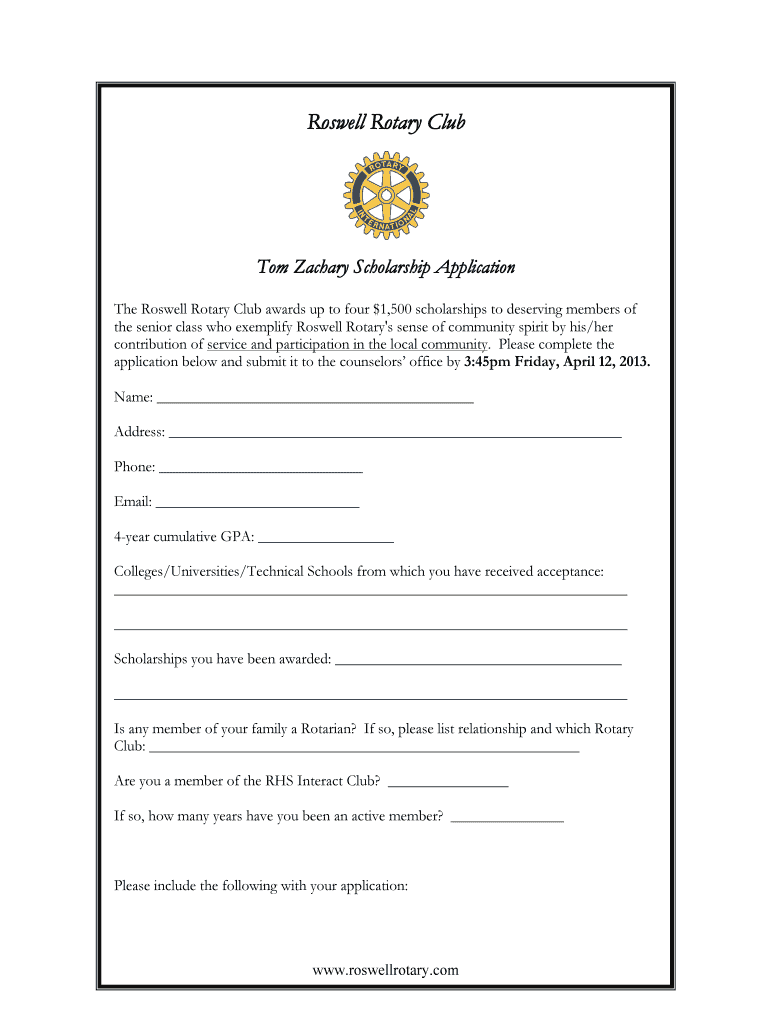Get And Sign Roswell Rotary Tom Zachary Scholarship Application2013 2013-2021 Form