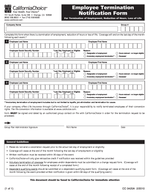 graphic about Printable Employee Termination Form identify Cal selection personnel termination style - Fill Out and Indication