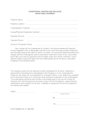 Unconditional lien waivers from subcontractors template form - Fill
