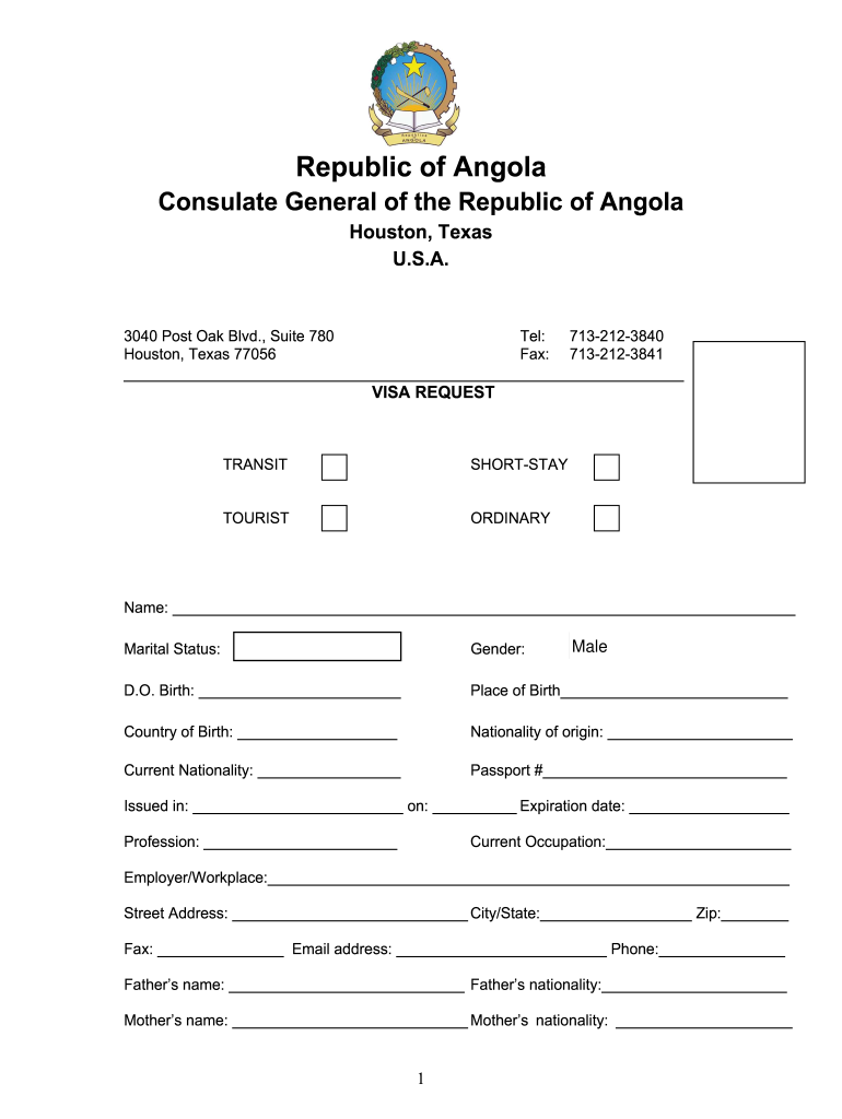 Angola Visa Requirements Fill Out And Sign Printable Pdf Template Signnow