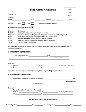 Food Allergy Form Template Fill Out And Sign Printable Pdf