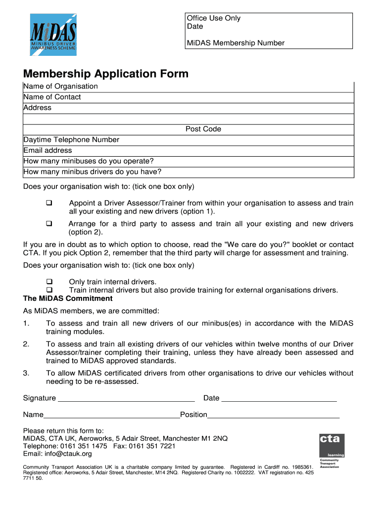 Get And Sign Membership Application Form Community Transport Association