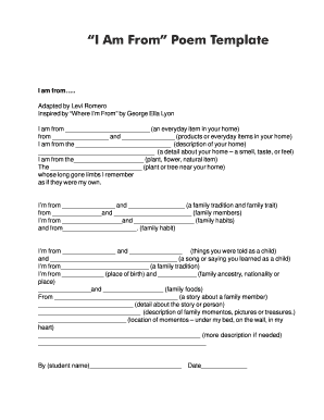 picture regarding I Am Poem Template Printable identified as I am poem template variety - Fill Out and Signal Printable PDF