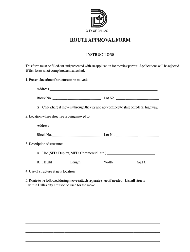 Get And Sign Moving Permit  Route Approval Form  City Of Dallas