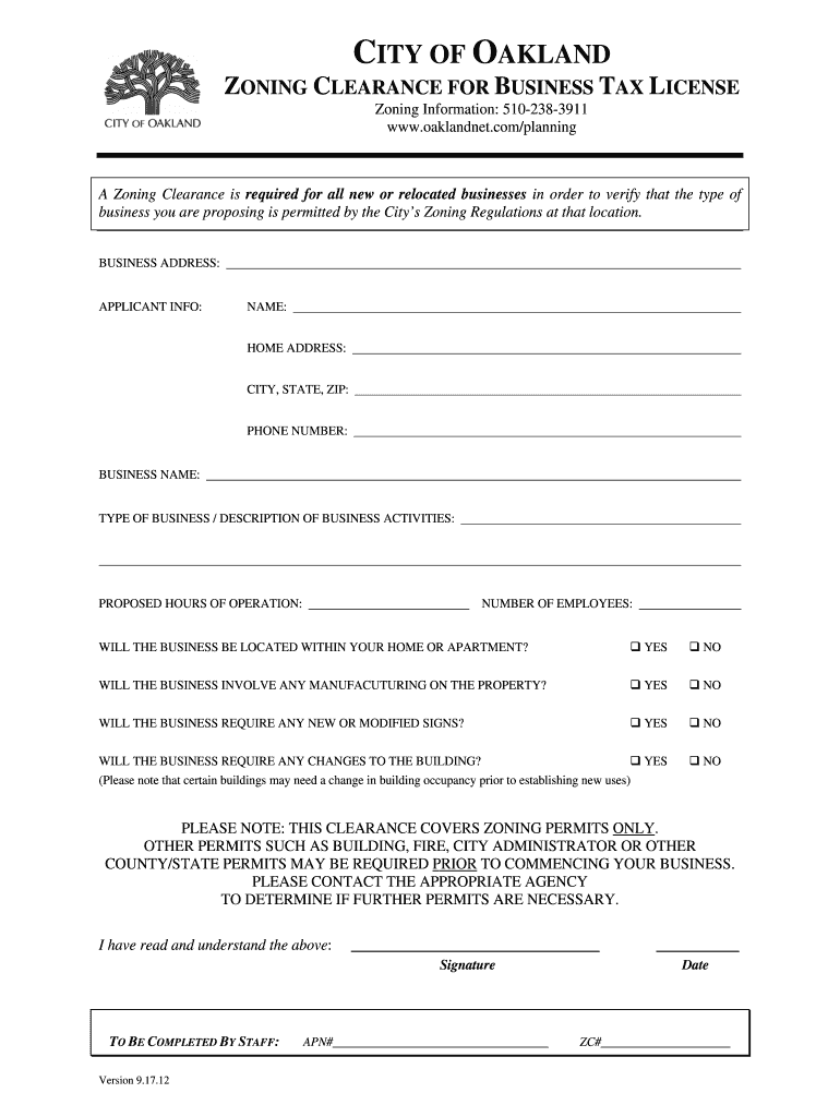 Get And Sign Zoning Clearance City Of Oakland 2012-2021 Form