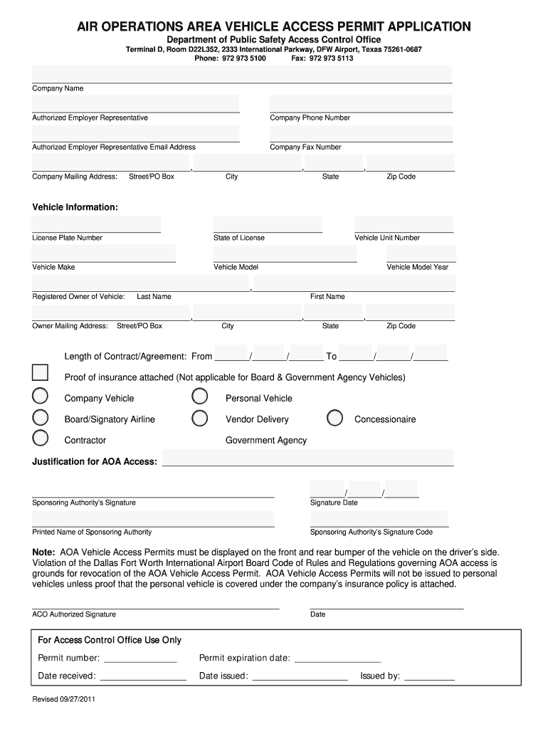 Access Permit Template - Fill Out and Sign Printable PDF ...