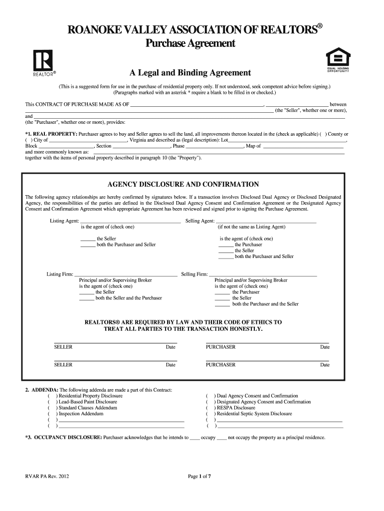 Get And Sign ROANOKE VALLEY ASSOCIATION OF REALTORS Purchase Agreement 2012-2021 Form