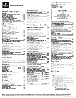graphic about Panera Bread Printable Menu With Prices identified as Panera obtain sort - Fill Out and Indicator Printable PDF Template