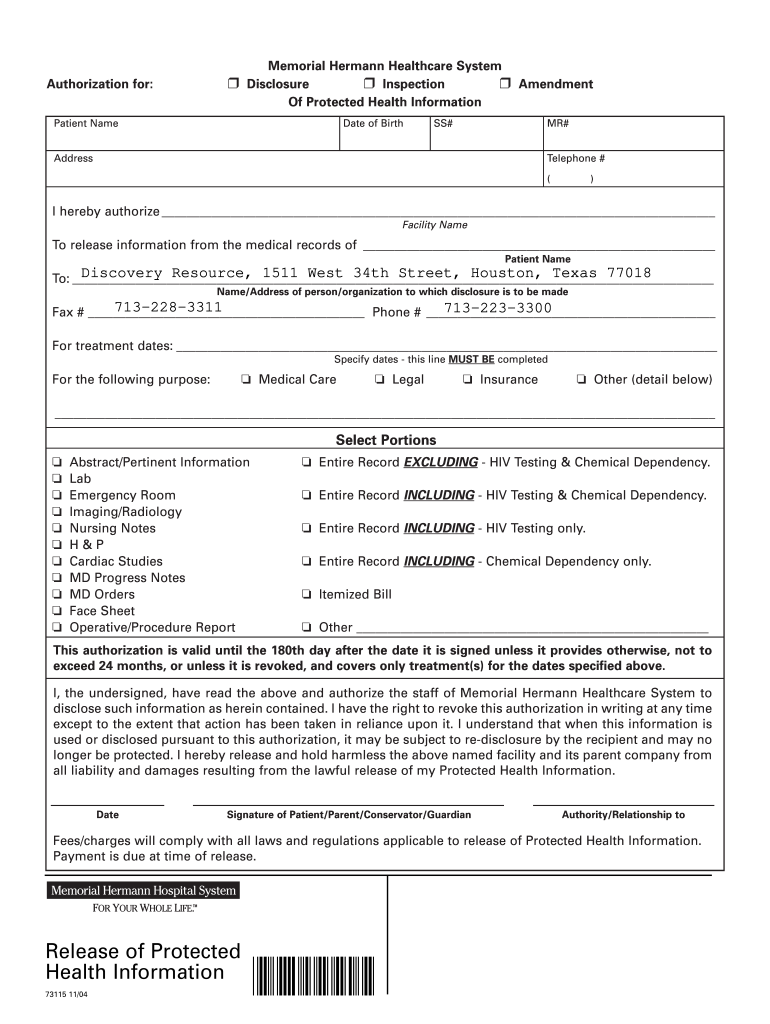 Get And Sign Memorial Hermann Blank Authorization Form  Discovery Resource