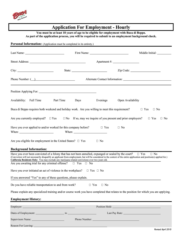Get And Sign Buca Di Beppo Application For Employment 2010-2021 Form