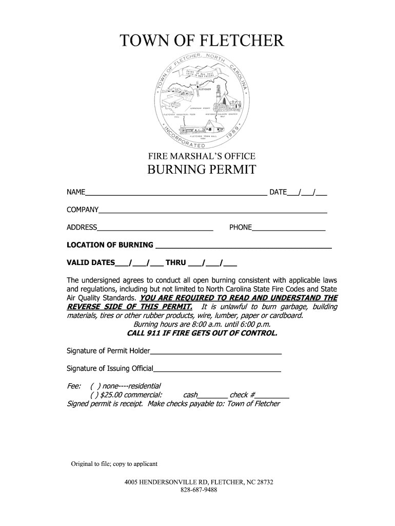 Get And Sign Burning Permit Form