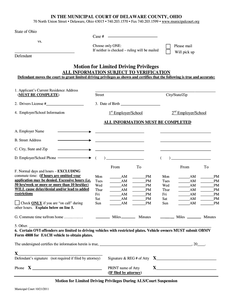 Get And Sign Work Driving Privileges Lorain County Ohio 2011-2021 Form