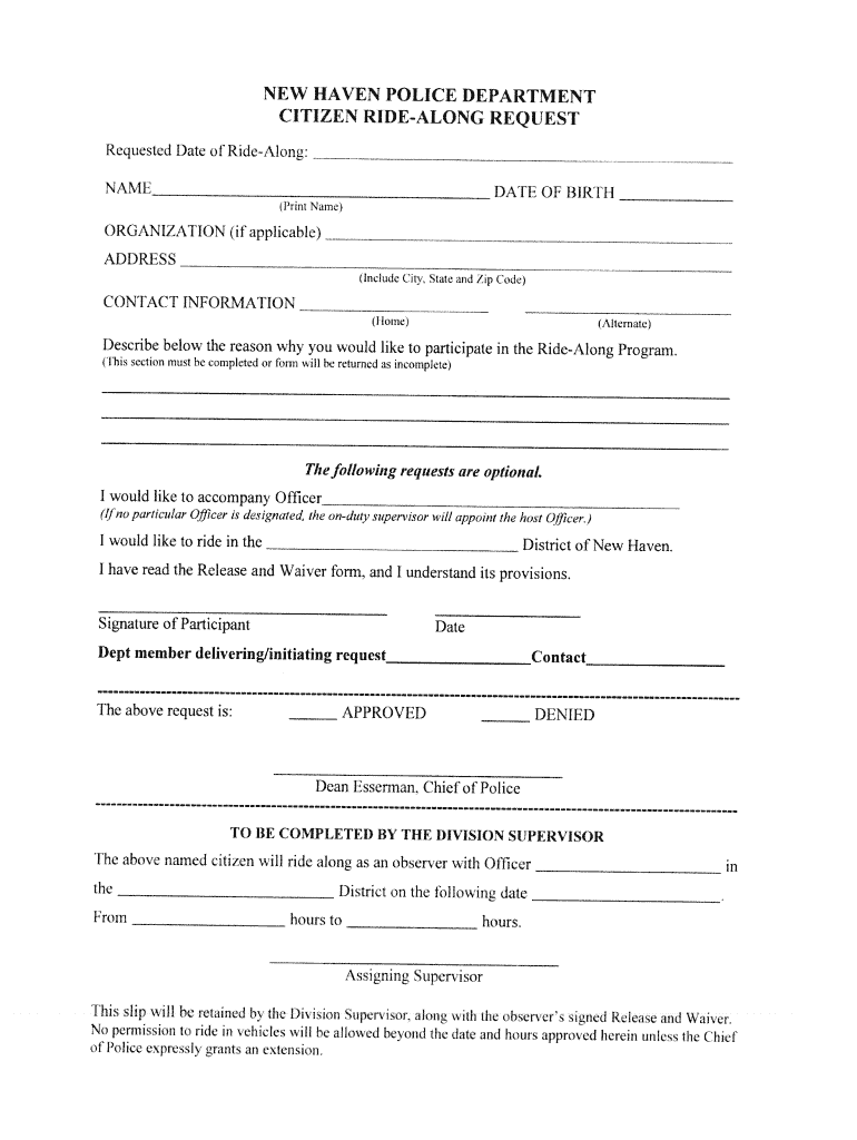 Get And Sign Police Ride Along Form