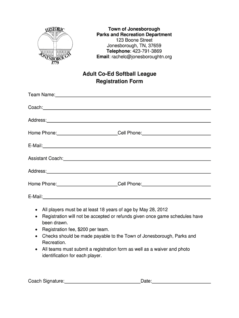 Get And Sign Adult Co Ed Softball League Registration Form Jonesboroughtn