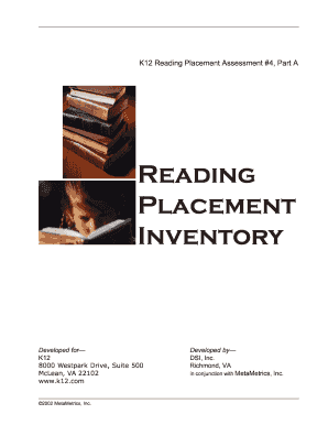 K12 reading placement assessment #4 form - Fill Out and Sign