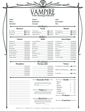photograph relating to Printable Character Sheet identified as V20 temperament sheet type - Fill Out and Signal Printable PDF