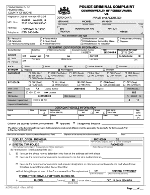 sample of pennsylvania private criminal complaint