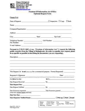 Foia Request Form Bolingbrook Fill Out And Sign Printable Pdf