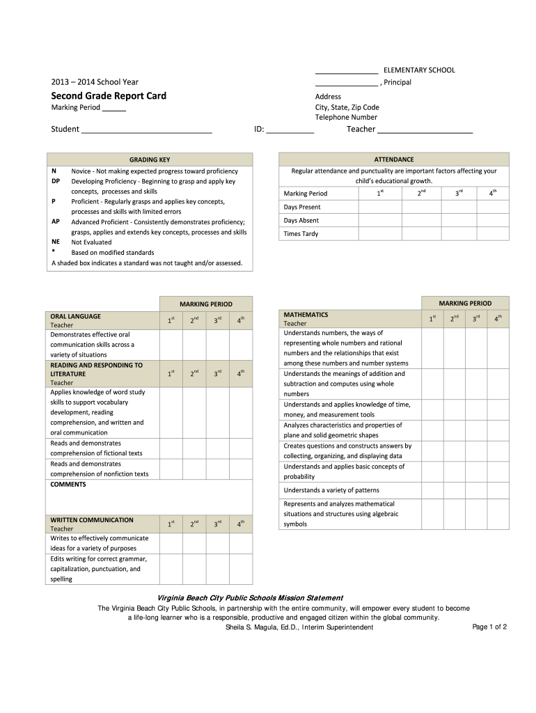 Get And Sign Second Grade Report Card Virginia Beach City Public Schools 2014-2021 Form