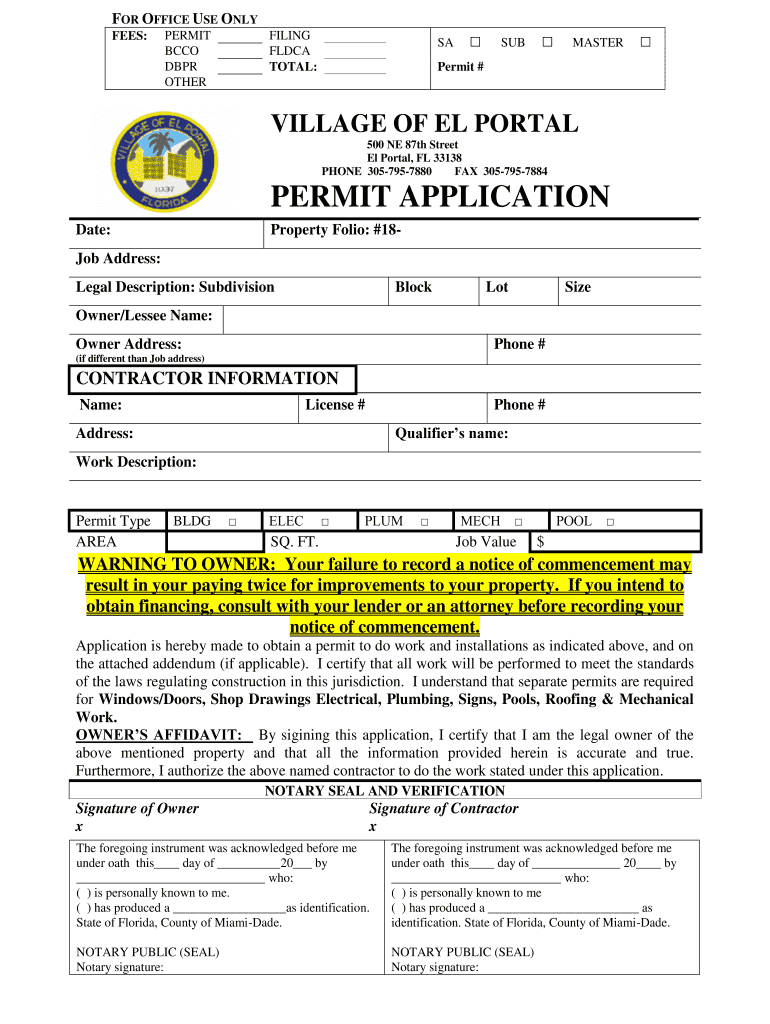 Get And Sign Village Of El Portal Permit Application Form