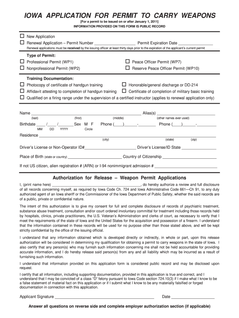 Get And Sign Iowa Concealed Carry Permit 2011-2021 Form
