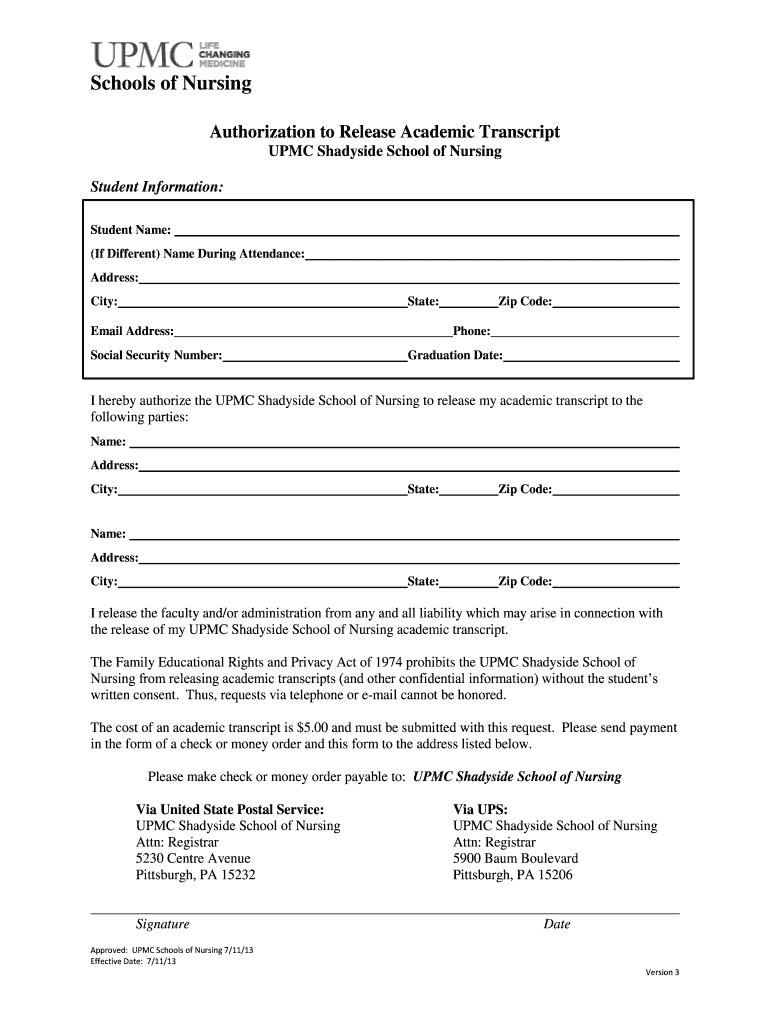 Get And Sign Upmc Shadyside School Of Nursing Transcript Request 2013-2021 Form