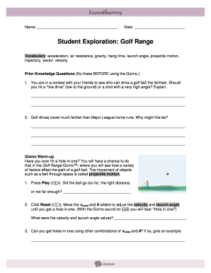 Golf Range Gizmo Answer Key Pdf Fill Out And Sign Printable Pdf Template Signnow