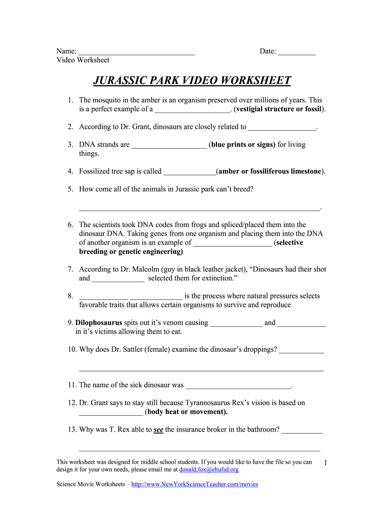 Get And Sign Jurassic Park Movie Questions Form