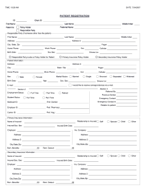 patient registration fill out and sign. Black Bedroom Furniture Sets. Home Design Ideas