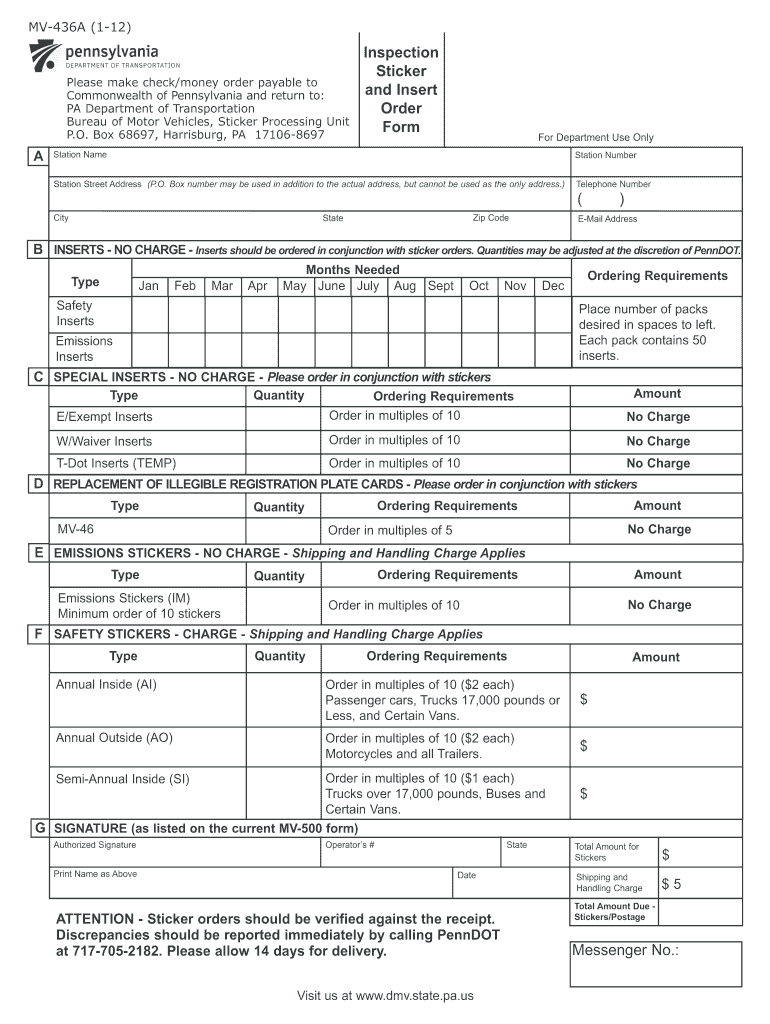 Ordering Pa State Inspection Stickers Online Fill Out And Sign Printable Pdf Template Signnow