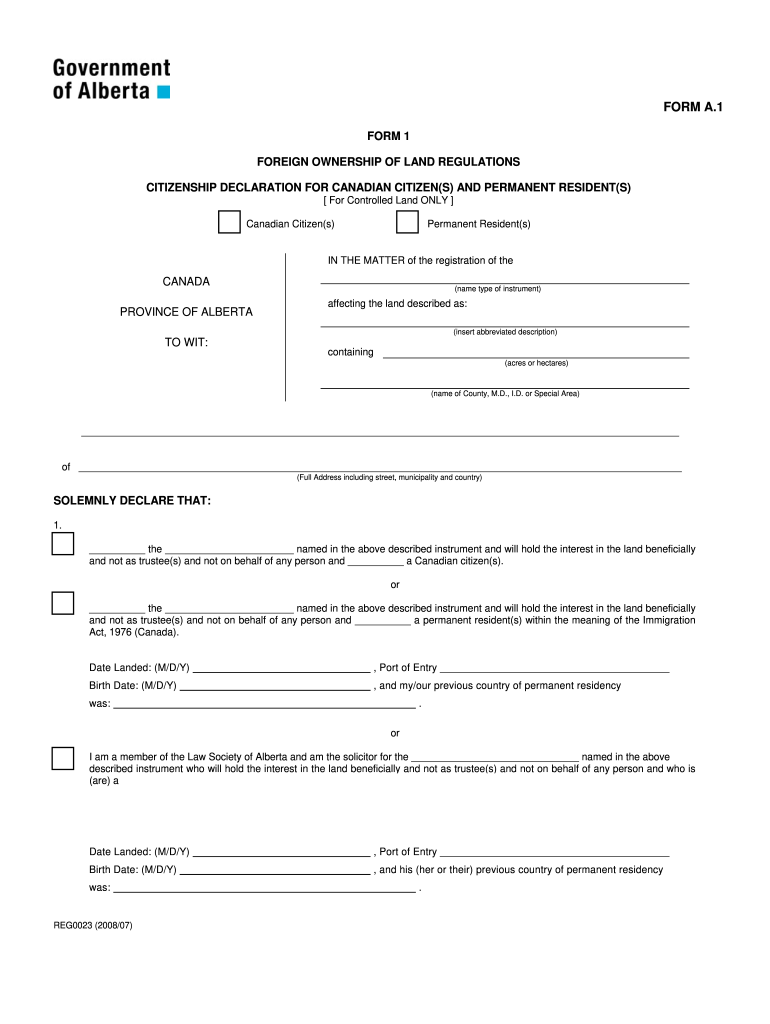 Get And Sign Foreign Ownership Form 1 Service Alberta Servicealberta 2008-2021