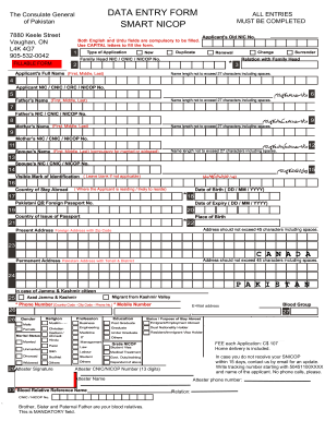 Cnic full form filled - Fill Out and Sign Printable PDF