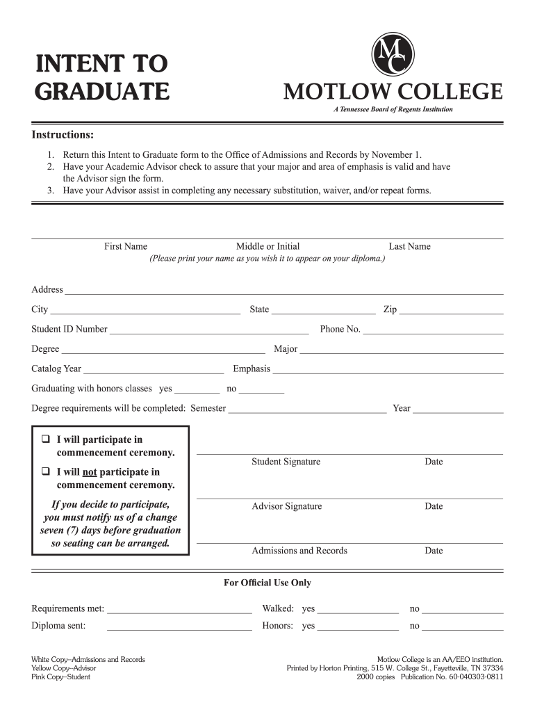 Get And Sign Motlow Intent To Graduate Form