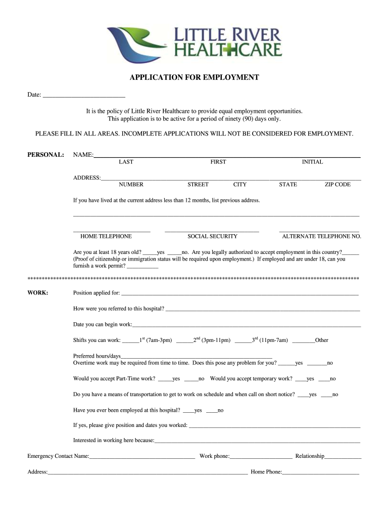 Get And Sign River Park Little River Sc Employment Application Form