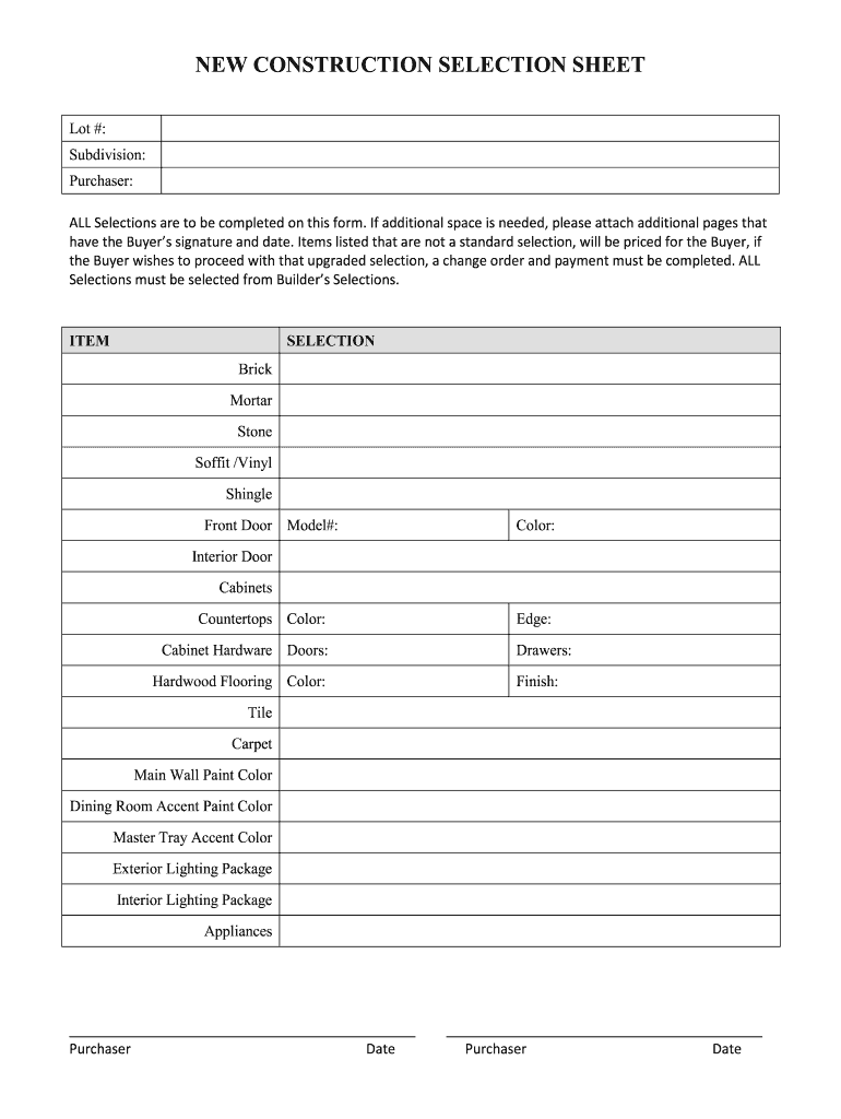 Get And Sign Home Builder Selection Sheet Template Form